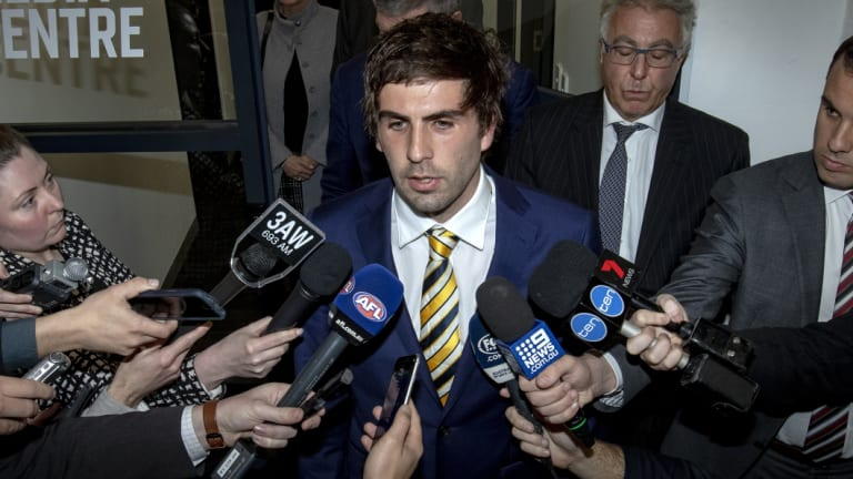 Andrew Gaff at the tribunal after his clash with Brayshaw.