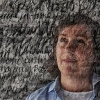 Artist Tilly Lees with her work which invited people to tell their secrets anonymously. Image is double exposure made in-camera.