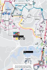 The new bus network planned for the western half of the inner north/Belconnen.
