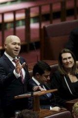 Labor Senator Mehmet Tillem delivers his maiden speech to the Senate. Photo: Dominic Lorrimer