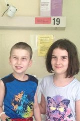 Harrison with his older sister Ella, who was the perfect donor match.