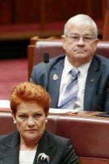 Senators Pauline Hanson and  Brian Burston in the Senate last year.