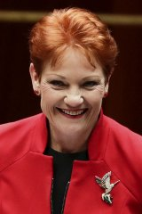 Senator Pauline Hanson  after the the income tax vote.