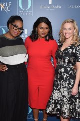 Oprah Winfrey, with co-stars Mindy Kaling and Reese Witherspoon.