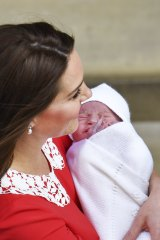 Catherine, Duchess of Cambridge, with her newborn son, Prince Louis.
