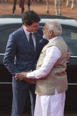Indian Prime Minister Narendra Modi with Canadian Prime Minister Justin Trudeau.