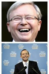 Prime Minister Kevin Rudd and Opposition Leader Tony Abbott in Canberra on Sunday.