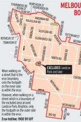 Map of Melbourne eruv boudaries.