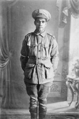 Studio portrait of 4259 Private George Combo, an Aboriginal serviceman from Mogil Mogil, near Collarenebri, NSW, who enlisted on 21 May 1916.