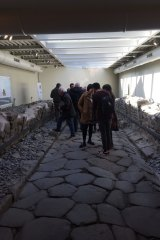 A stretch of Roman road unearthed during the construction of a McDonald's outside Rome in Marino, Italy.