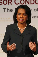 """Former U.S. Secretary of State Condoleezza Rice gives a speech during a lecture on """"Asia's Future"""" at the Chinese University of Hong Kong. <i>Picture: AP</i>"""