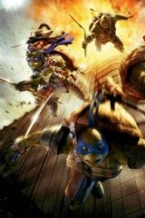 Offensive: The poster showing the turtles diving from an exploding building was quickly withdrawn.