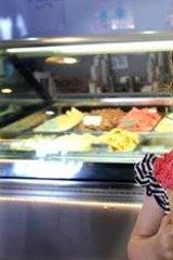 Ella Van Der Meer, 2, of Menai enjoys a treat from Frangipani Gelato Bar in Sydney.