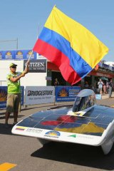 Colombia prepares to begin the 300km race from Darwin to Adelaide.