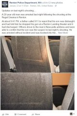 The local police department published pictures of the bulletholes.