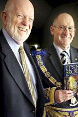 Author Peter Lazar and Freemason Grand Master Garry Sebo.