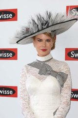 Black and white ... Nicole Kidman dressing accordingly at Derby Day.