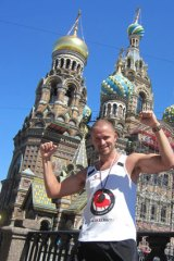 Tristan Miller in action in St Petersburg, Russia, halfway through his 52 marathons in one year.