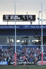 Blowout: Geelong's humiliation of Melbourne was coach Dean Bailey's last match.