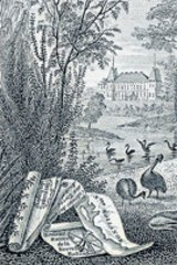 An etching of Chateau Malmaison, where Napoleon's wife Josephine kept kangaroos and emus.