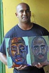 Myuran Sukumaran with two of his self-portraits.