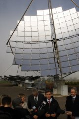 Former premier John Brumby in front of a Silex solar test facility at Bridgewater in 2010. The company's promised plant near Mildura was never built.