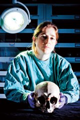 """Dead men do tell tales … forensic anthropologist Dr Soren Blau with the so-called """"Baxter"""" skull long purported to be that of Ned Kelly."""
