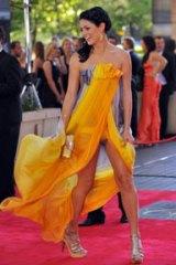 Mitchell Johnson's partner Jessica Bratich wearing Ruth Tarvydas on the red carpet.