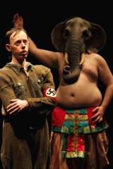 Play within a play: Simon Laherty, in Nazi uniform, and Brian Tilley as Ganesh.