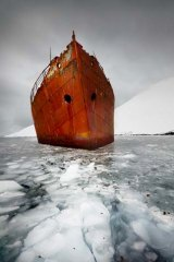 The submerged wreck of a whaling ship.
