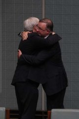So long: Former prime minister Kevin Rudd bids farewell to parliament house.