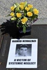 A memorial for asylum seeker Hamid Kehazaei.