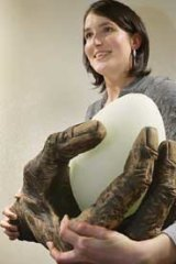 Crystal Stubbs with a piece from her exhibition 'Human Nature'.