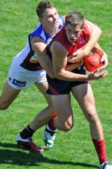 Daniel Nicholson playing for Melbourne in a pre-season game this February.