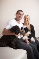 Second chance … Daryn Cresswell with his second wife, Joanne, and their dogs BJ and Geordie at their Coolangatta home.