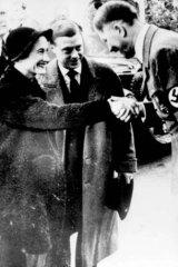 The Duke and Duchess of Windsor meet German leader Adolf Hitler in Munich on October 22, 1937.