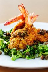 More than garnish ... prawn cutlets with broccoli and capers.