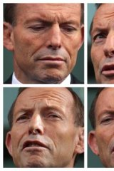 Manful struggle: Tony Abbott faces the media in a difficult press conference on Thursday morning, avoiding questions and struggling to explain his decision to break his written word.