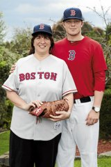 Family support … Red Sox rookie Daniel McGrath with his mother Dale.