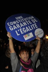Supporters of gay marriage demonstrate in Paris on Wednesday.