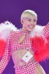 Miley Cyrus performing in Toronto, Canada.