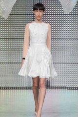 A model showcases designs at the Antipodium Salon Show at London Fashion Week.