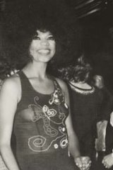 A performer from the musical <i>Hair</i> with Harry M. Miller at an event for the society during the swinging '60s.