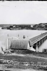 Early days: The Glebe Island Bridge crossing Blackwattle Bay to undeveloped Pyrmont, 1870-1875.