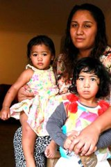 Struggled to find opportunities near her home: Lafitaga-Anne Sasulu with two of her children, daughters Paris-Elizabeth and Carmeleeta, at their Bankstown unit.