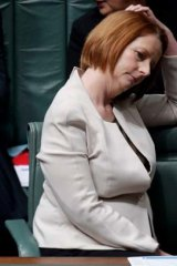 Julia Gillard during yesterday's showdown in which the PM was told she should resign.