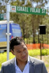 Israel Folau talks with media after having a street named after him in Goodna.