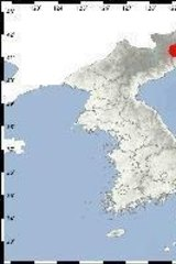 The position of Punggye-ri in North Korea.