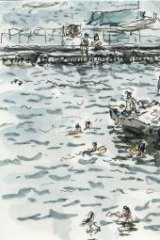 Water colour: Tom Carment's Pontoon, Redleaf Pool.