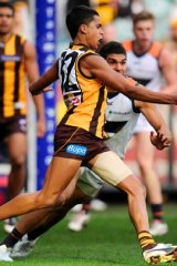Hawthorn's Bradley Hill looks to have firmed for a starting role in the Hawk midfield.